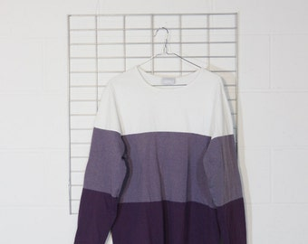 faded 3 tone colorblock boxy long sleeved tee shirt