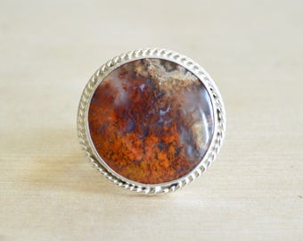 Plume Agate Statement Ring // Agate Jewelry // Sterling Silver // Village Silversmith