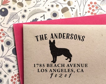 Custom Address Stamp - German Shepherd Return Address Stamp, customized gift for holidays, housewarming and weddings, school