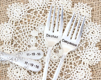 Doctor Who Wedding Forks  - Companion - Hand Stamped Cake Fork Set - Custom - Vintage Silver Flatware - Dr. Who - His Hers - Mr. Mrs.
