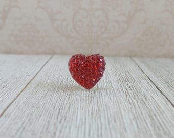 Red Heart - Sparkle Red Heart - Love - Valentine's Day - Anniversary - Good Luck Charm - Wedding - Lapel Pin