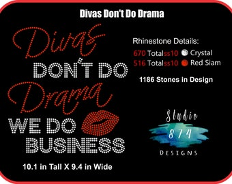 Diva Rhinestone Transfer Template Pattern Stencil DOWNLOAD ONLY - Diva's Don't Do Drama - Sticky Flock - SVG