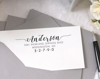 Personalized Custom Return Address Stamp - Great Wedding, Newlywed, Housewarming, New Home, Realtor Gift! Self inked, Pre-inked RE846