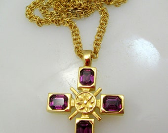 Jeweled Cross Pendant Necklace Two Sided Design Gold Tone Vintage Gift Collectible Item 2406