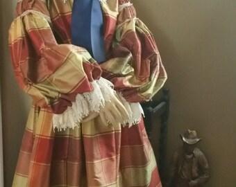 Period Correct Silk Tartan Plaid Civil War Reenactment Little Girls Prairie 1840 through 1900 Dress Gown 7 8 10