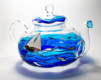Teapot hand painted, Nautical Decor, Glass teapot with Infuser, Nautical gift, Tea kettle Hostess gift Blue teapot set