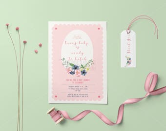 About to Hatch Baby Shower Invitation/ Ready to Hatch Baby Shower Invite/Chickadee Baby Shower Invite/ Baby Shower Hatching Invitation