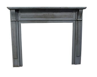 antique salvage wood painted country french farm fireplace mantel - Antique Fireplace Mantels