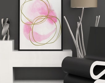 Pink Watercolor Abstract Print. Large Abstract Watercolor Art Print
