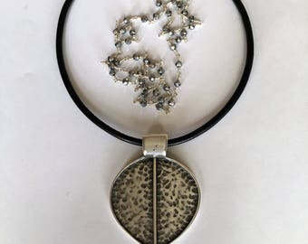 Leather and Silver Pendant Necklace II