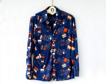Vintage 70s Disco Hippie Large Collar Shirt // Graphic Hipster Top