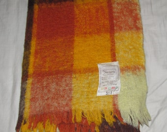 Vintage Nylon/Acrylic Throw Blanket - Made in Italy For Sears - Warm Brown, Orange and Yellow Plaid - Small Blanket, Decorative Accent
