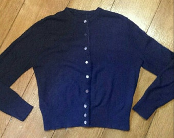 60s navy blue small button down cardigan