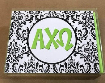 Alpha Chi Omega Damask Notecards