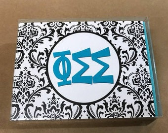 Phi Sigma Sigma Damask Notecards