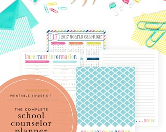 Printable 2017-2018 School Counselor Planner Kit - Designed specifically for school guidance counselors!