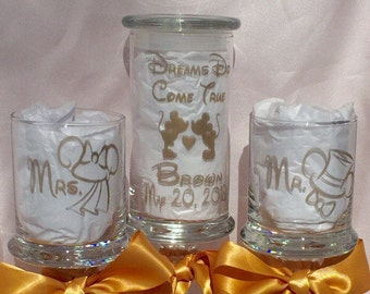 """Unity Sand Set  """"Dreams do Come True"""" Personalized Mr. Mrs. Pedestal Apothecary Gold Painted Storybook Fairytale Wedding Choice Fonts"""