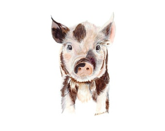 Baby Pig Art, Farm Nursery Decor, Farm Animal Print, Baby Animal Print, Pig Print, Farm Decor, Baby Decor, Farm Art, Pig Decor, Piglet