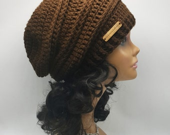 Slouchy Hat | Women's Slouchy Hat | Brown Slouch Hat | Chocolate Slouch Beanie | Woman's Fall/Winter Wear | Ready to Ship | Gift for Her