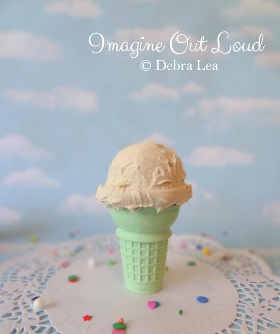 Fake Ice Cream Vanilla Realistic Faux Scoop Mint Green Cake Cone Prop Decor