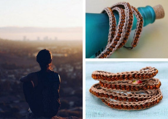 Wrap crochet leather bracelet with brown yellow beads