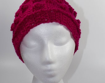 Bright pink crochet ear warmer headband