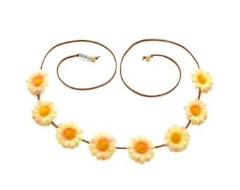 Yellow Pink Daisy Flower Crown, Flower Headband, Festival Headband, Hippie Headband, Spring Headband, Bohemian Headband, BoHo Headband