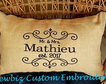 Personalized Pillow, monogrammed Pillow,Embroidered Pillow, Burlap Pillow