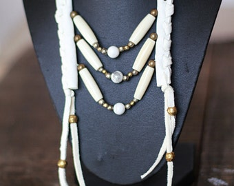 small tribal breastplate, native inspired necklace, festival necklace, boho necklace, white leather necklace, southwestern necklace,