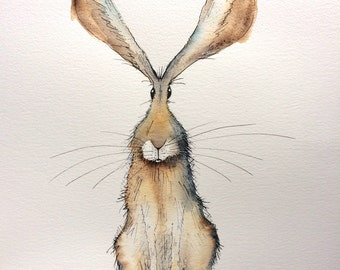 Wriggle the sitting hare - Original watercolour hare painting