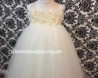 Ivory Flower Girl Tutu Dress, Ivory Tutu Dress, Flower Girl Tutu Dress in Ivory, Ivory Tutu, Christening Tutu Dress, Baptism Tutu Dress