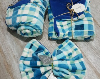 Baby Blue Plaid Blissful Blanket Set