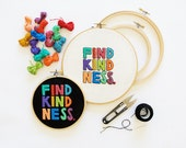 Find Kindness Embroidery Pattern - Simple Hand Embroidery PDF Pattern - #SKBDIY - D.I.Y. Hoop Art - Freestyle Embroidery Typography Decor