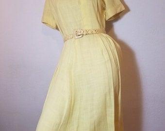 FREE  SHIPPING  1940  Linen  Dress
