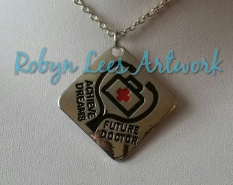 Achieve Dreams Future Doctor Tag Necklace on Silver Crossed Chain or Black Faux Suede Cord. Stethoscope, Red Cross, Gift