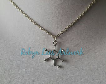 Small Silver Glucose Molecule Charm Necklace on Silver Crossed Chain or Black Faux Suede Cord. Molecular, Anatomy, Anatomical, Sugar