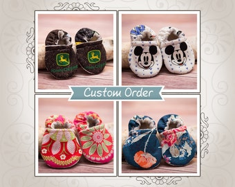 Baby Booties - Baby Shoes - Crib Shoes - Crib Booties - Fabric Baby Booties - Fabric Baby Shoes - Custom Baby Shoes - Custom Baby Booties