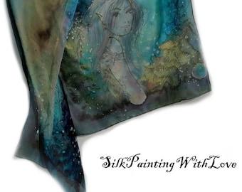 Silk scarf handpainted. Elven scarf. Fairy  scarf Fairytale. Blue black scarf. Magic green scarf. Dragonfly shawl. dragonfly Fantasy scarf