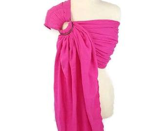 Woven Cotton Gauze Ring Sling Newborn, Infant, Baby Carrier - Fushia Ring Sling - Pleated Shoulder