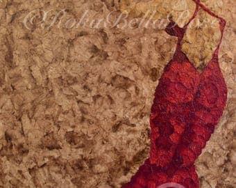 Dancing Alone In A Red Dress - Rose petal art print