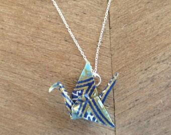 Blue Paper Crane Necklace, Japanese Necklace, Japanese Jewelry, Asian Jewelry, Asian Necklace, Blue Necklace, Cute Necklace, Japanese Crane