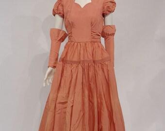 Salmon Taffeta Bridesmaid Dress C 1949