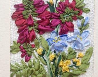 Alpine Flowers Silk Ribbon Embroidered Card designed by Inna Bird