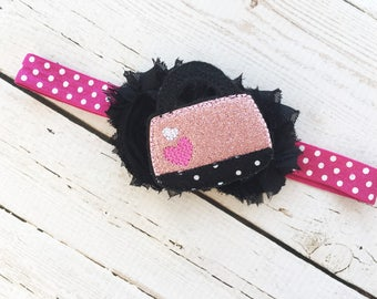 Sparkly Headband - Pink Sparkle Headband - Little Girl Headband - Shabby Flower Headband -Girly Headband - Black Flower Head Band for Child