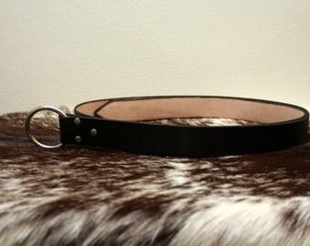 """1.5"""" Black Leather Ring Belt"""