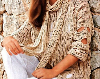 Crochet tunic PATTERN, tutorial in ENGLISH for every row, crochet beach top pattern PDF, crochet scarf pattern, beach crochet tunic pattern.