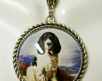 Spaniel pendant and chain - DAP25-015