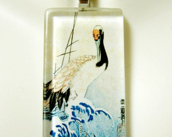Crane on waves by Ando Hiroshige glass pendant - BGP02-042