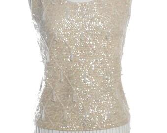 Vintage 1960's Sequin Cream Vest Top 12 - www.brickvintage.com