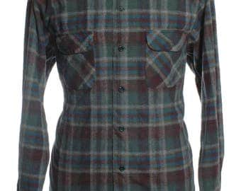 Vintage Pendleton Plaid Wool Shirt XL - www.brickvintage.com